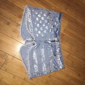 low rise frayed jean shorts